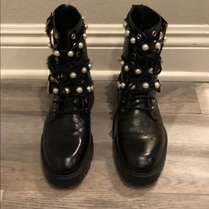 Zara Ankle Boots with Faux Pearls Size 38